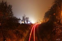 Burntwood Lane Bridge (psychosteve-2) Tags: bridge trails light tracks train misty caterham long time exposure