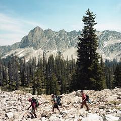 Just Passing Through (Aaron Bieleck) Tags: hasselblad500cm 120film analog 6x6 square film filmisnotdead hasselblad mediumformat wlvf sawtoothmountain hiking backpacking outdoors idaho id 60mmct kodakportra160 forest trees landscape mountain
