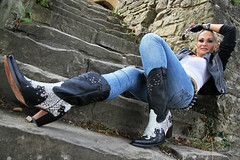 Anna 118 (The Booted Cat) Tags: sexy blonde model girl tight blue jeans leather cowboyboots cowgirl boots jacket