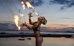 Fire on Water vol.2 with Alicia (EEI shows Mykonos): Fire by sunset (SpirosK photography) Tags: sticks firesticks eeishows fireonwater fire fireshow fireperformance firedancer portrait photoshoot beach greekbeach lagonissi greece attiki αττική ελλάδα λαγονήσι sunset