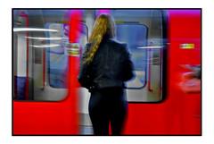 READY TO BOARD (StockCarPete) Tags: leather tube train londonunderground london uk women female doors slidingdoors movement centralline leatherjacket redhead whitecitystation