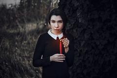 Ghostfield (Enrico Cavallarin) Tags: ghost creepy horror fear candle light hotlight braid girl field scare afraid nikon portrait girlportrait gothic dark darkness