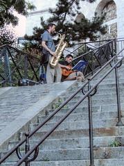 Buskers on steps near the Sacré Cœur (dckellyphoto) Tags: paris france 2013 îledefrance montmartre europe busker saxophone man male musician stairs basssaxophone