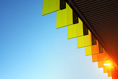 Children's Hospital Detail 1 (pni) Tags: detail architecture building hospital color colour glass sky orange green red sun light helsinki helsingfors finland suomi pekkanikrus skrubu pni blue