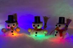 Where Shall We Three Meet Again .. (steve_whitmarsh) Tags: macro closeup christmas decorations night lights snow snowman colour orange red green blue topic smileonsaturday threesame