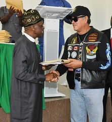 HMIC, Alh. Lai Mohammed bidding farewell to The Foreign Bikers following their tour of Nigeria