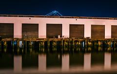 bridge and pier (pbo31) Tags: bayarea california nikon d810 color night dark black november 2018 boury pbo31 urban sanfrancisco city bay reflections southbeach pier40 embarcadero marina baybridge 80 bridge
