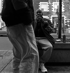 Street deals. (Neil. Moralee) Tags: canada2016neilmoraleenikond7100 neilmoralee drug deal street marrijuana meth mda cannabis crystal snow spice cat kat ketamine por spliff canada toronto neil moralee candid black market dealer skunk scunk lsd acid trip white bw blackandwhite bandw mono monochrome man boy sitting city panasonic lx7
