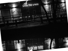 You, night and the neon (MikeONeil) Tags: lights blackwhite canal monochrome chairs water reflections night shadows political blackandwhite leica425mm nottingham