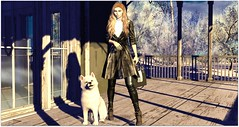 Tradescant - Winter Time! (Sivyaleah (Elora)) Tags: second life avatar virtual sl genus project mocap deetalez viktoria stealthic passion maitreya lara codex karina noemi trenchcoat blueberry aria belle epoque poppins kibitz sandrian dog puppy jian santa samoyed companion scarlett creative magicae house nature trees home leather boots blonde applier skin