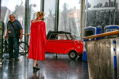 My red coat and car (kleppertomanie) Tags: klepper raincoat rainwear isetta vintage hood
