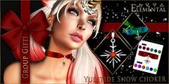 -ELEMENTAL- 'Yuletide Snow' Choker Wk 3 Group gift! (elemental.business.sl) Tags: free freebie groupgift gift christmas yule holidays xmas jewelry accessories texturechange originalmesh