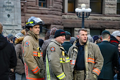 Faces of Toronto: firefighters watching (Can Pac Swire) Tags: toronto ontario canada canadian city 20181111 remembrance day 100th centenary anniversary endof world war one 1 i wwi old hall 2018aimg5885 firefighter fireman firemen firefighters armistice queen st street w west 60 p332 pumper 332