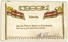 Liberty and the Wars of Mexico (Alan Mays) Tags: ephemera sentimentcards callingcards visitingcards namecards names cards paper printed adinich dinich sentiments mottos liberty love friendship truth fears loversheart lovers hearts wars warsofmexico mexicowars mexicanamericanwar mexicanwar mexico flags flagpoles stars stripes hands fists holding chains threelinkchain chainwiththreelinks triplelinks links chainlinks logos symbols ioof oddfellows independentorderofoddfellows fraternal organizations societies illustrations borders rhymes poes poetry yellow red gold victorian 19thcentury nineteenthcentury 1883 1880s antique old vintage typefaces type typography fonts