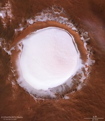 Plan view of Korolev crater (europeanspaceagency) Tags: esa europeanspaceagency space universe cosmos spacescience science spacetechnology tech technology marsexpress hrsc highresolutionstereocamera dlr redplanet exploration dryice korolevcrater crater solarsystem mars marte mex