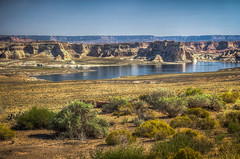 View of Wahweap Bay portion of Lake Powell from Wahweap Overlook near Glen Canyon Dam (donnieking1811) Tags: arizona page lakepowell wahweapbay landscape outdoors lake water shrubs mountains cliffs sky blue reflections hdr canon 60d lightroom photomatixpro
