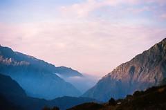 Country blues (Tamar Burduli) Tags: analog film color 35mm nature landscape clouds fog mist sunset sky skyscape cloudporn mountainscape mountains kazbegi georgia travel tamarburduli light grain pentax fujifilm