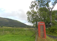 Red Telephone Box, Inverlael, Wester Ross, Aug 2018 (allanmaciver) Tags: inverlael red telephon box iconic faded working wester ross highlands scotland west trees path climbers allanmaciver north coast 500