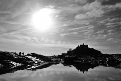 JAN_1910_00006_B&W (Roy Curtis, Cornwall) Tags: uk cornwall marazion stmichaelsmount silhouette reflection rockpool sunnyday seaside