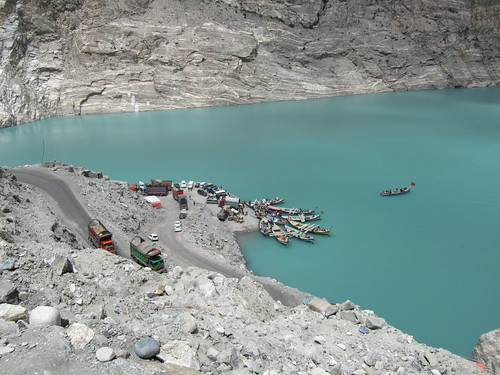 Waiting to cross Attabad Lake, on the Karakoram Highway, linking Pakistan with Xinjiang, China.