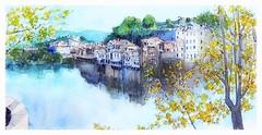 Amarante - Portugal (guymoll) Tags: amarante portugal rivière panoramique panoramica aquarelle watercolour watercolor aguarela acuarela landscape arbres trees sketch croquis