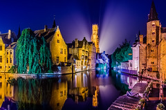 Night Reflections at Rozenhoedkraai. Brugge, Belgium (andrewhardyphotos) Tags: beauty belgique belgium bricks bruges brugge canal center city historic night nikond7000 reflections tokinaatx116prodxii1116mmf28 towers water famousspot trees belgië colorful windows architecture blue facade houses old rooftops sky