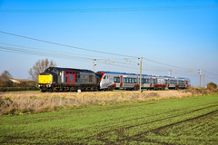 37800 + 755407 - Bannold Road - 20/01/19. (TRphotography04) Tags: rail operations group rog europhoenix 37800 cassiopeia passes bannold road waterbeach dragging new greater anglia stadler flirt bimode 755407 working 5q47 1120 norwich cpt trsmd cambridge recp 13 the cl755s will replace 153 156s 170s