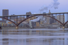 St. Paul and the High Bridge (Sam Wagner Photography) Tags: st paul minnesota midwest winter twilight telephoto detail close up high bridge smith avenue city cityscape blue hour longexposure mighty mississippi river dusk steam smoke stacks blur