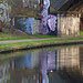 Thumbs up reflection on the Worcester & Birmingham Canal under the Camp Hill Line