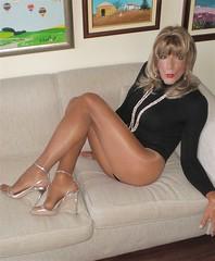 Karen (Karen Maris) Tags: tg tgirl tgurl karen legs tranny trannie transgender transsexual transvestite sheer pantyhose tights collants blonde crossdresser crossdress