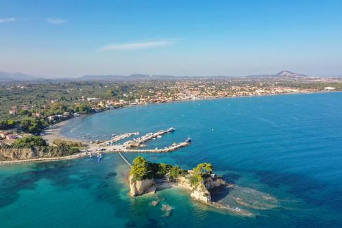 Aerial of Cameo island Zakynthos Greece