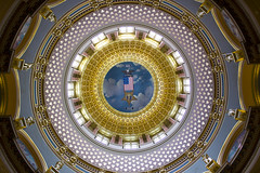 Ceiling of the Iowa State Capital Building (boom_goes_the_canon) Tags: iowa state capital building capitol dome history architecture gold circle ceiling geometric flag eagle desmoines statecapital capitalbuilding nationalregisterofhistoricplaces golddome