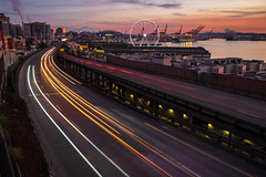 Goodbye Viaduct (Jeff Carlson) Tags: pugetsound aurora highway auroraviaduct freeway city viaduct transportation seattle downtown wa alaskanwayviaduct theevergrey longexposure sunset cartrails lighttrails roadway dusk waterfront seattlewaterfront urban demolition