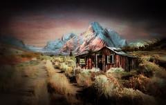 Desert Shack (jarr1520) Tags: landscape sky outdoor clouds mountain composite textured pastures grasses shack road light