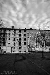 Alès Pres st jean-8695 (YadelAir) Tags: alès immeuble destruction pelleteuse débris démolition rue noiretblanc habitat hlm