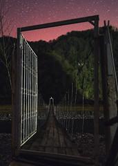 Entrance to Paradise (free3yourmind) Tags: entrance door night sky stars starry bridge air river stones forest national park machakhela georgia adjara batumi wooden paradise