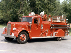 Springfield Township at Holland OH (kyfireenginephoto) Tags: pumper fender skirt 1950s wlf red truck ohio springfield twp toledo lucas ward lafrance engine floodlight stfd 1951 fire