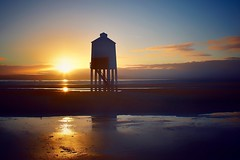 Sundown (Nige H (Thanks for 20m views)) Tags: nature landscape beach lighthouse sunset somerset burnhamonsea england reflection sky cloud sea seascape sundown
