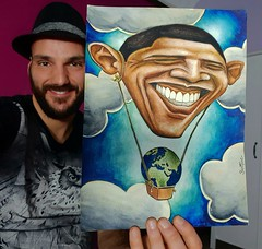 Obama Balloon... Watercolor painting I made in 2009 after Obama presidential election in the US.   ------- Obama Montgolfière... Peinture aquarelle faite en 2009 juste après l'élection de Obama aux Etats Unis.  ------- #art #originalart #artwork #drawing (Ben Heine) Tags: originalart obama yesyoucan world drawing caricature art avendre balloon carte change artwork economy benheinart dessin globe coolandaffordableoriginalsforsale earth monde barackobama artforsale illustration originalpainting economie montgolfiere