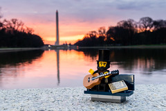 Lincoln serenade (Ballou34) Tags: 2018 7dmark2 7dmarkii 7d2 7dii afol ballou34 canon canon7dmarkii canon7dii eos eos7dmarkii eos7d2 eos7dii flickr lego legographer legography minifigures photography stuckinplastic toy toyphotography toys washington districtdecolombie étatsunis us stuck in plastic lincoln monument infinity pool guitar music song serenade bench sunrise
