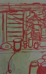 2018.12.23 Studio Bottles and Window View (Julia L. Kay) Tags: juliakay julialkay julia kay artist artista artiste künstler art kunst peinture dessin arte woman female sanfrancisco san francisco sketch dibujo daily everyday 365 acrylic acrylics acrylicpaint paint painting paper canvas panel