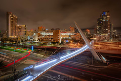All lit up (ihikesandiego) Tags: harbor drive pedestrian bridge downtown san diego night photography long exposure