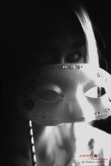Behind Multiple Masks (1300 Photography) Tags: nikon z6 affinity affinityphoto 50mm 14 wideopen portrait woman female lady beautiful sexy mask blackandwhite blackwhite onelightsetup mystique