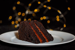 Happy Chocolate Cake Day! (Karol A Olson) Tags: cake chocolatecake chocolatecakeday bokeh lights 119picturesin2019