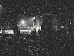 A lonely statue (wojciechpolewski) Tags: night nightstreet atnight nightlights nightphoto nightphotography beautifulnight streetphotographer streetphoto streetphotography rainyweather rainynight rain streetview statue trees buildings streetlights wpolewski poland kedzierzynkozle monotone monochrome monochromatic monochromatico bw bnw blacknwhite blackandwhite streetlamp