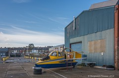 Ready for take-off. (frattonparker) Tags: afsnikkor28300mmf3556gedvr btonner isleofwight lightroom6 nikond810 raw solent winter frattonparker hovercraft yellow blue thebestyellow