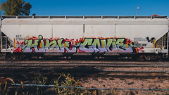 KINK - CNUE (◀︎Electric Funeral▶︎) Tags: omaha midwest councilbluffs nebraska lincoln fremont desmoines kansascity kansas missouri iowa graff graffiti paint aerosol art freight train traincar freighttraingraffiti railway railroad railcar benching benched freighttrain rollingstock fr8train fr8heaven hopper sonyrx100m2 kink cnue ld digital photography