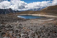 Lake and mountains on the way to Jichu Dramo - Lunana Gewog - Gasa District - Snowman Trek - Bhutan (PascalBo) Tags: nikon d500 asie asia southasia asiedusud drukyul drukgyalkhap bhutan bhoutan འབྲུག་ཡུལ། འབྲུག་རྒྱལ་ཁབ་ snowman trek trekking hike hiking lunana gasa himalaya himalayas mountain montagne sky ciel lake lac outdoor outdoors pascalboegli