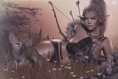 Jade~HeartHunter (Skip Staheli *10 YEARS SL PHOTOGRAPHER*) Tags: skipstaheli secondlife sl sexy sensual meadow fox jadeknight grass flowers arrow bow fantasy dreamy avatar virtualworld digitalpainting