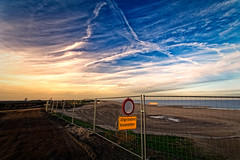 Exceptions (Alfred Grupstra) Tags: sunset beach sea sky outdoors cloudsky nature sign coastline sand nopeople summer dusk travel scenics landscape sun sunlight blue 978 trafic works